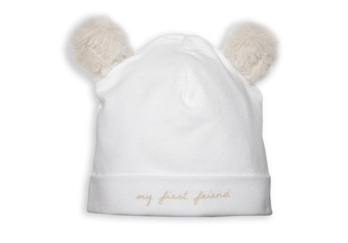 First - My First Collection babymutsje teddy - wit/beige