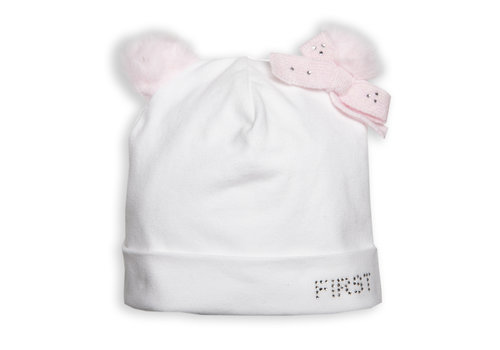 First - My First Collection babymutsje teddy - wit/roze