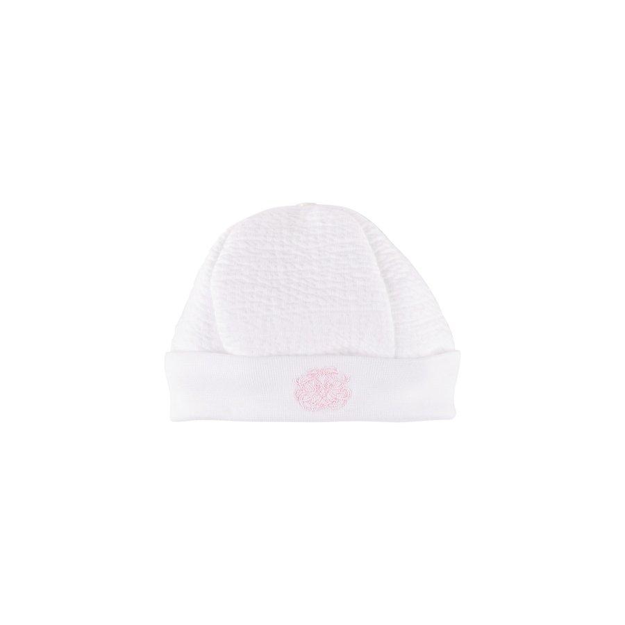 babymutsje met borduur - wit/roze-1