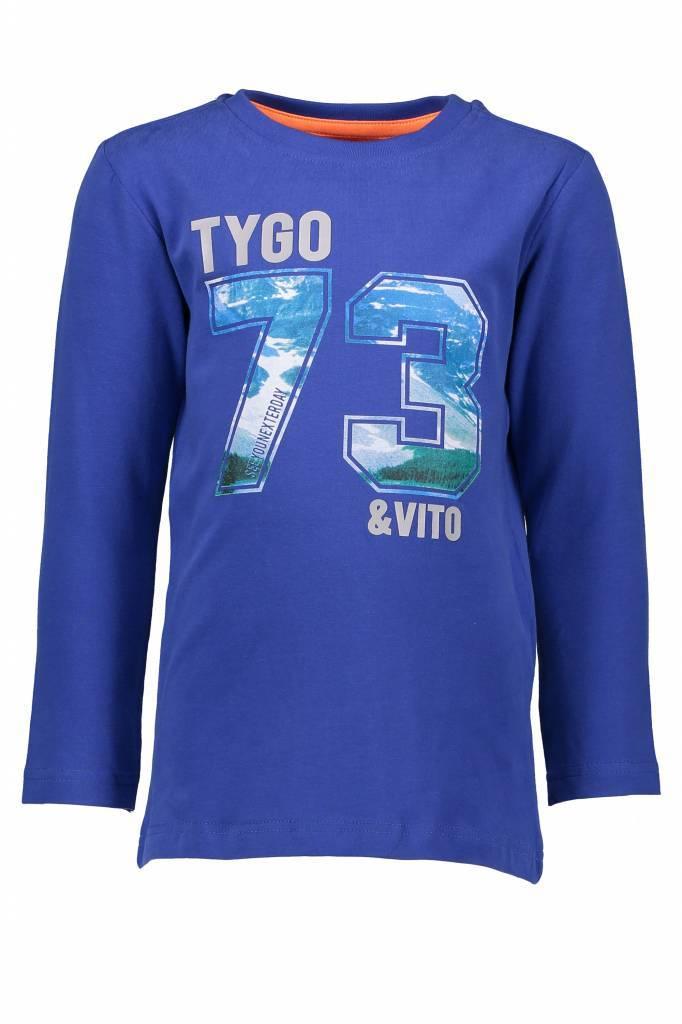 TYGO&vito TYGO&vito longsleeve photoprint 73 cobalt