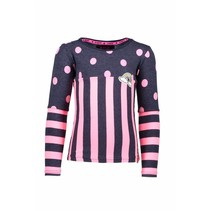 Longsleeve with a mix op stripes and dots blue bird melee neon magenta