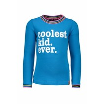 Longsleeve with striped rib in neck and cuffs cyan