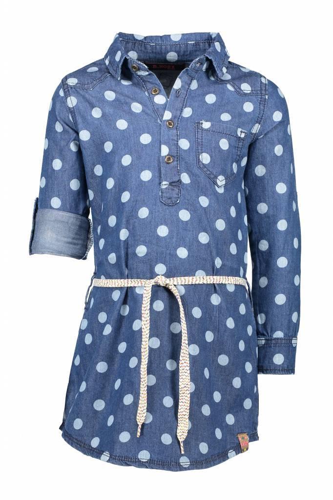 b89c9f628fc0fc B.Nosy B.Nosy jurk dot denim with belt blue denim