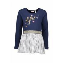 Jurk jersey top + double fabric skirt part navy