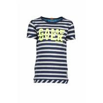 T-shirt stripe midnight blue ecru melee
