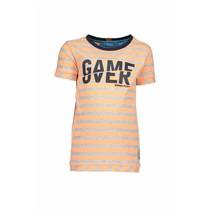 T-shirt stripe neon orange ecru melee