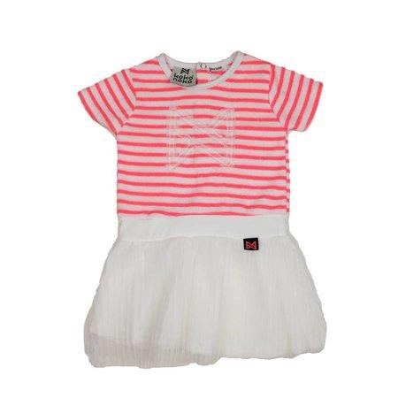 Koko Noko Koko Noko jurk neon peach stripes + white