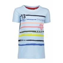 T-shirt printed stripes light blue