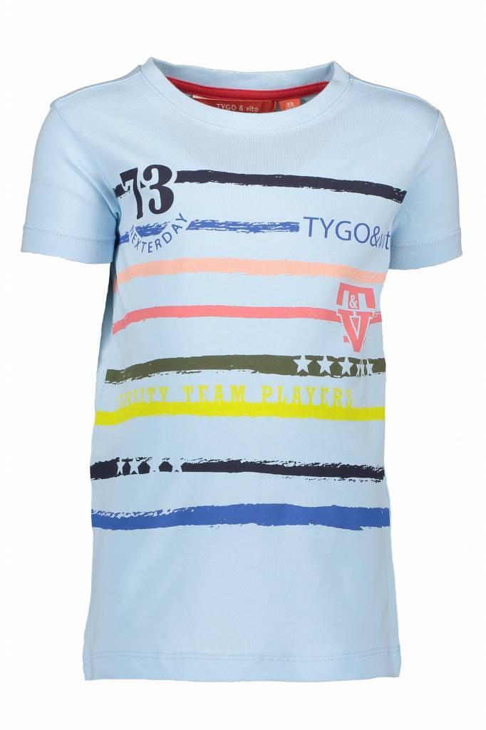TYGO&vito TYGO&vito T-shirt printed stripes light blue