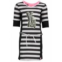 Jurk with stripe body, plain side parts, belt on waist grey melee/ black