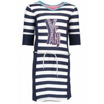Jurk with stripe body, plain side parts, belt on waist midnight/ white