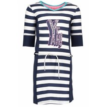 Jurk with stripe body, plain side parts, belt on waist midnight/ white