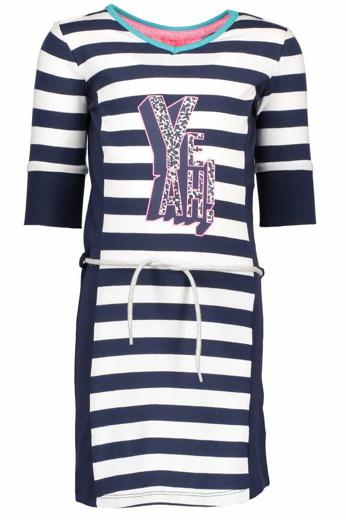 B.Nosy B.Nosy jurk with stripe body, plain side parts, belt on waist midnight/ white