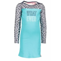 Jurk with contrast print sleeves hot turquoise