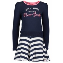 Jurk with smocked waistband and lace tape midnight blue