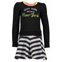 Jurk with smocked waistband and lace tape black