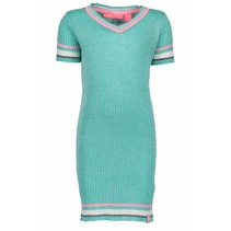 Jurk lurex v-neck knitted hot turquoise