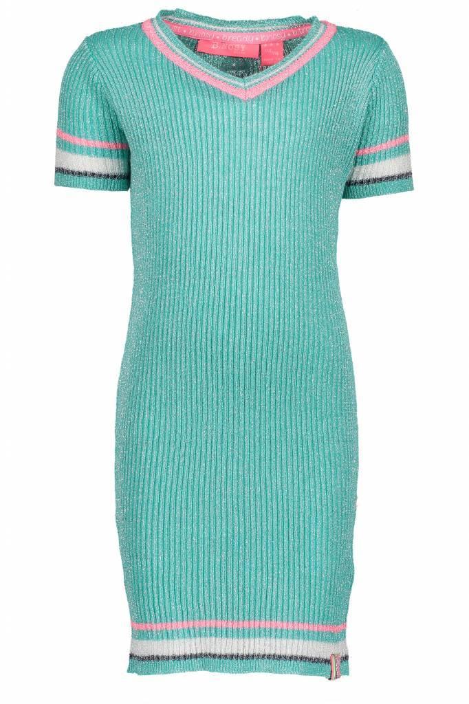 B.Nosy B.Nosy jurk lurex v-neck knitted hot turquoise