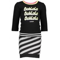 Jurk with plain body, slanted stripe skirt part black