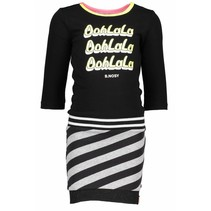 Jurk with plain body, slanted stripe skirt part black