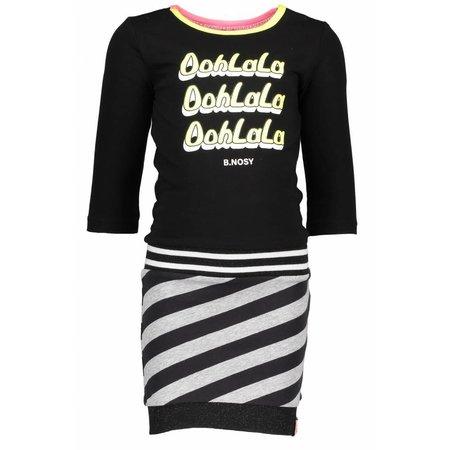 B.Nosy B.Nosy jurk with plain body, slanted stripe skirt part black