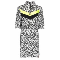 Jurk with contrast v-parts, zipper at collar white panter black/ alloy ao