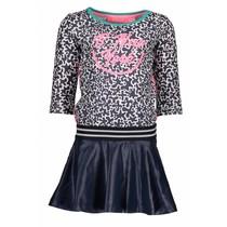 Jurk skater with coated skirt part white glitter spots ao midnight blue