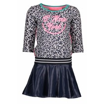 Jurk skater with coated skirt part white glitter spots ao midnight blue