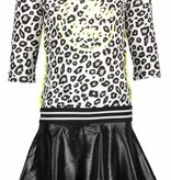 B.Nosy B.Nosy jurk skater with coated skirt part white panther black/ alloy ao