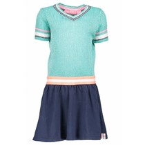 Jurk lurex with coated skirt hot turquoise