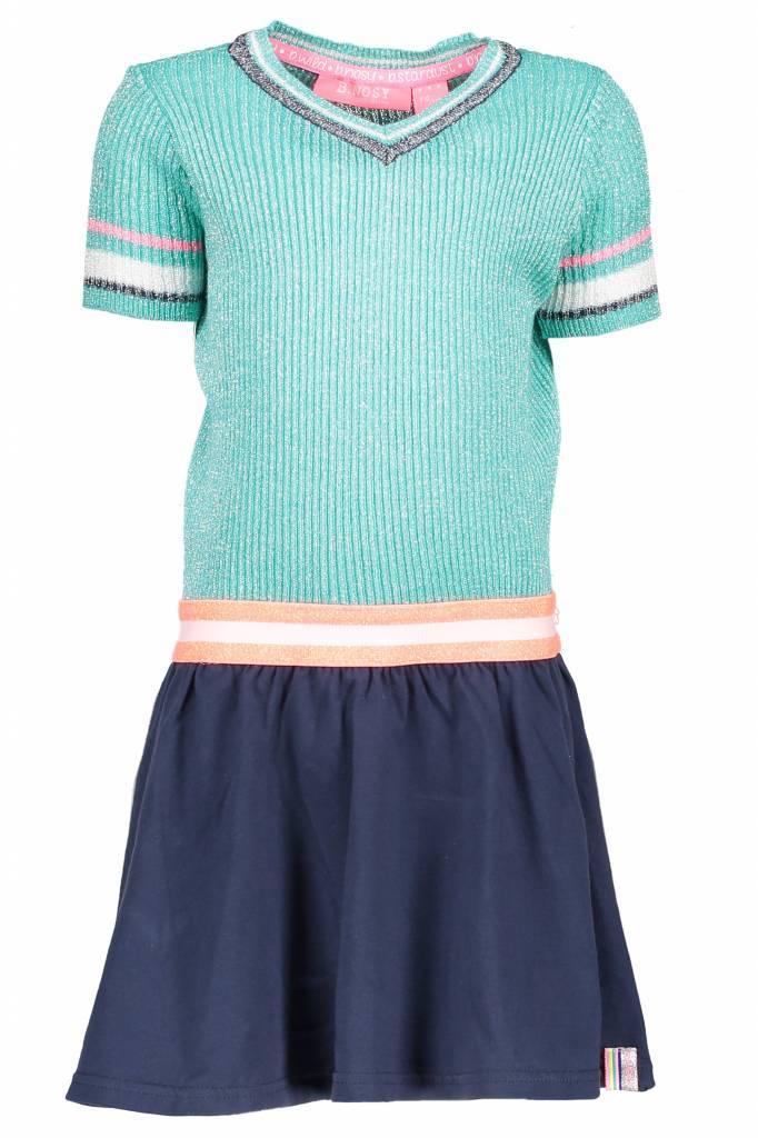 B.Nosy B.Nosy jurk lurex with coated skirt hot turquoise