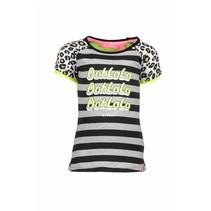 T-shirt raglan stripe with star print sleeves, contrast back panel grey melee/black
