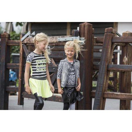 B.Nosy B.Nosy T-shirt raglan stripe with star print sleeves, contrast back panel grey melee/black