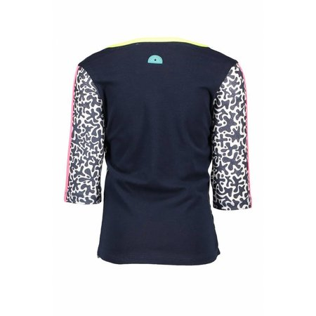 B.Nosy B.Nosy longsleeve with star print sleeves with tunderstorm print white glitter spots ao midnight blue