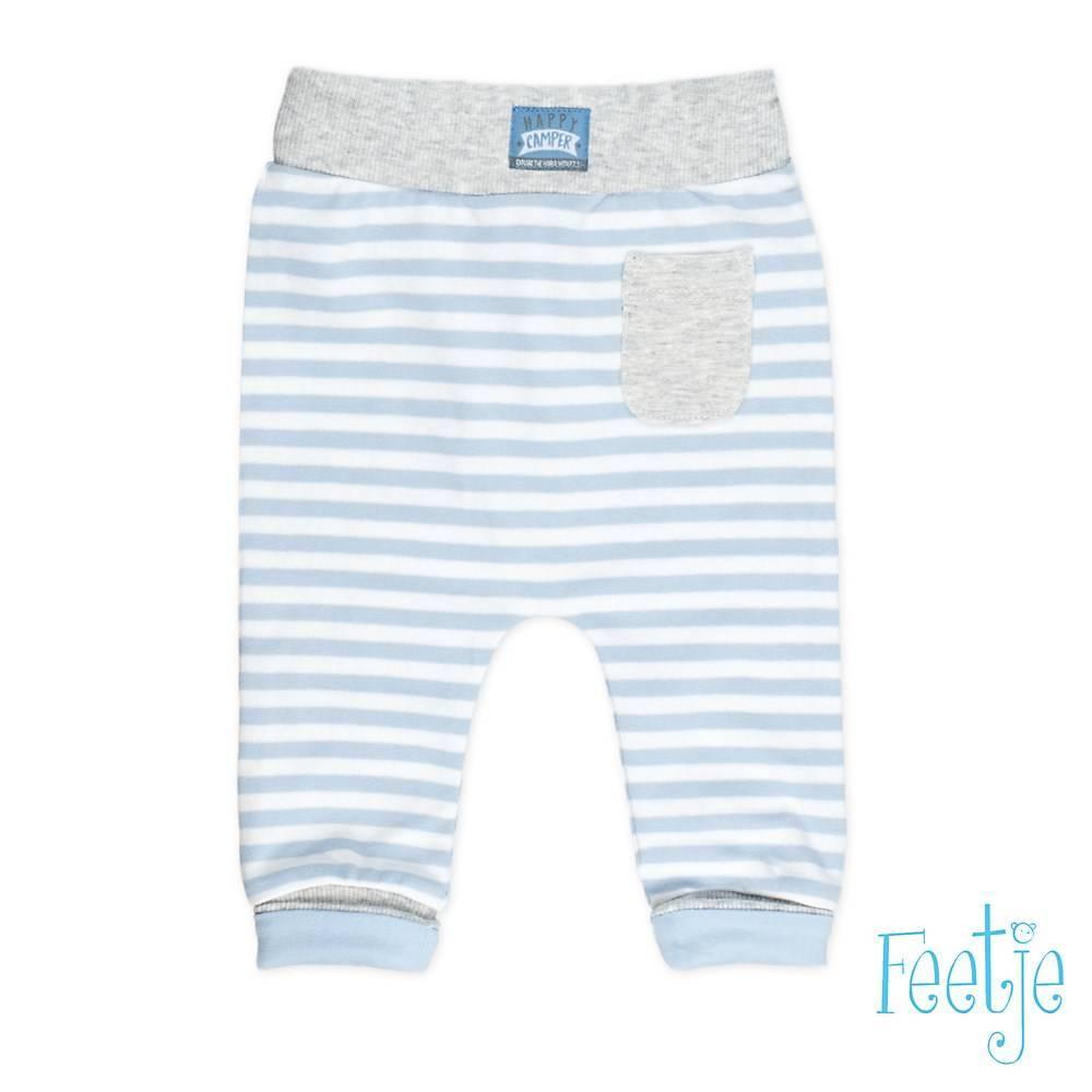 Feetje Feetje broekje streep happy camper blauw
