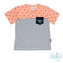 T-shirt aop/streep captain cool neon oranje