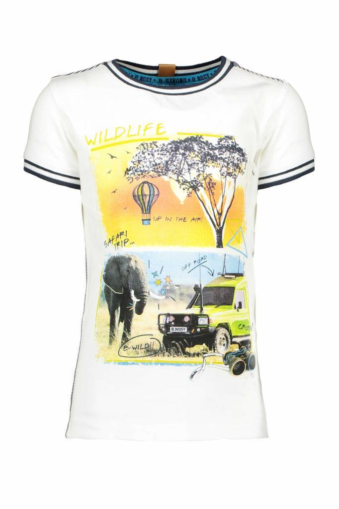 B.Nosy B.Nosy T-shirt safari with rib at neck and sleeves chalk white