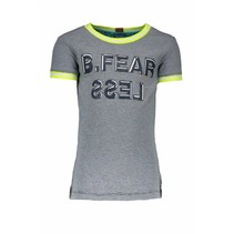 T-shirt fearless with rib at neck and sleeves y/d small stripe m.blue/white