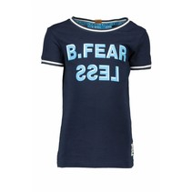 T-shirt fearless with rib at neck and sleeve midnight blue
