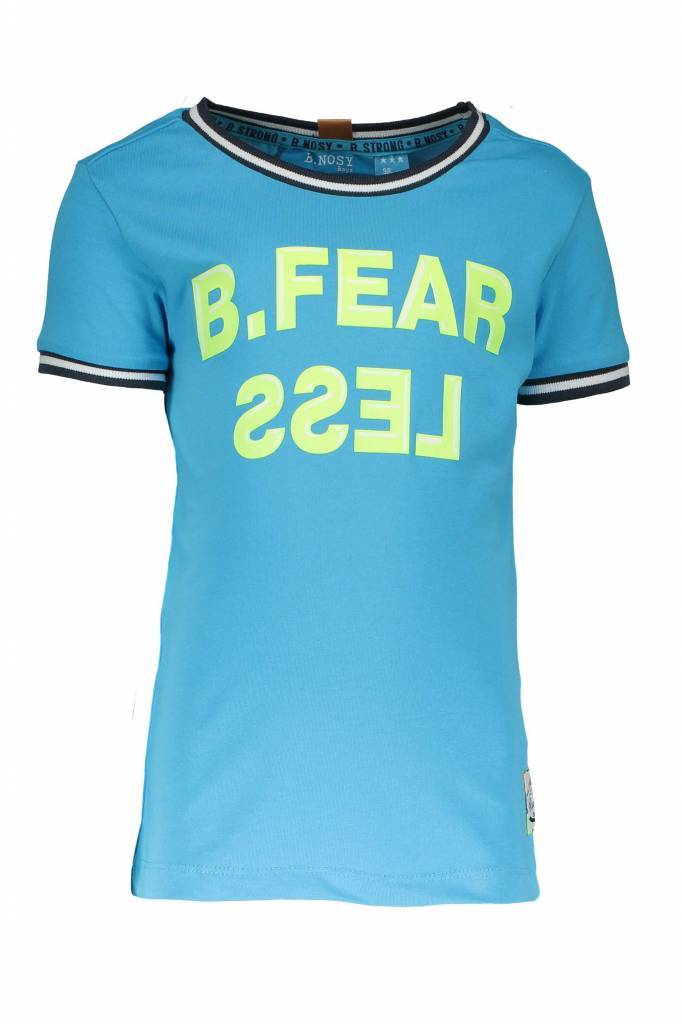B.Nosy B.Nosy T-shirt fearless with rib at neck and sleeves pacific