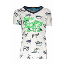 T-shirt africa print v-neck ao white africa animals