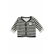 Vestje reversibel y/d stripe + allover print black/white