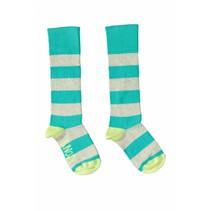 Kniekousen y/d stripe ecru melee hot turquoise
