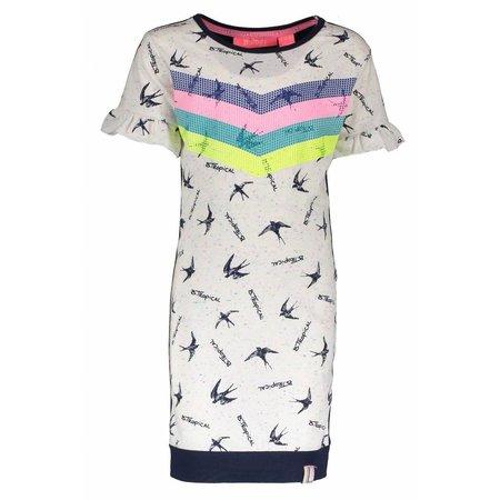 B.Nosy B.Nosy jurk rainbow bird with ruffle sleeve end tropical ao