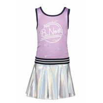 Jurk with foil printed top part + coated skirt part sweet lilac