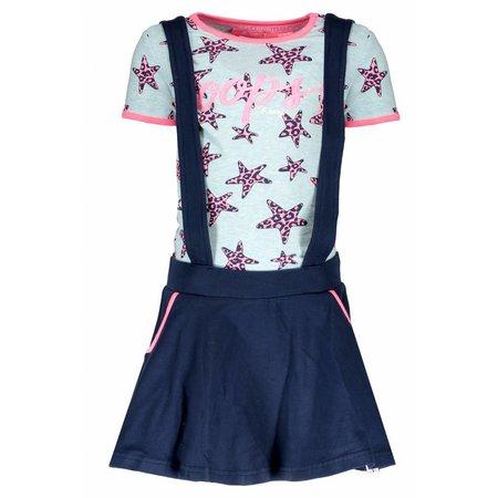 B.Nosy B.Nosy jurk jersey dungaree skydelight pink panther stars ao