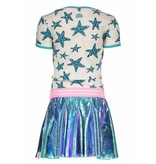 B.Nosy B.Nosy jurk panther star with skater skirt ecru melee panther stars ao hot turquoise