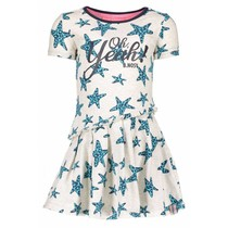 Jurk star with slanted skirt part ecru melee panther stars ao hot turquoise