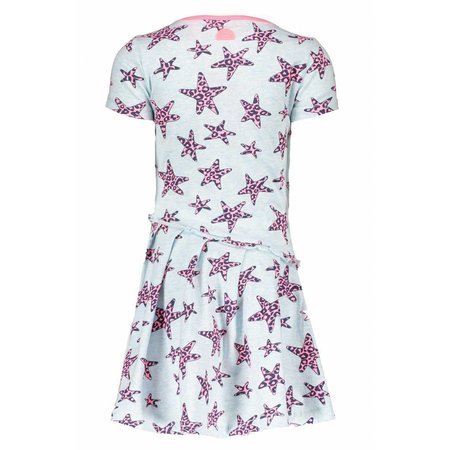B.Nosy B.Nosy jurk star with slanted skirt part skydelight pink panther stars ao