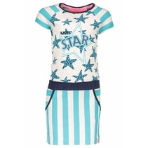 Jurk jersey with stripes/stars ecru melee hot turquoise